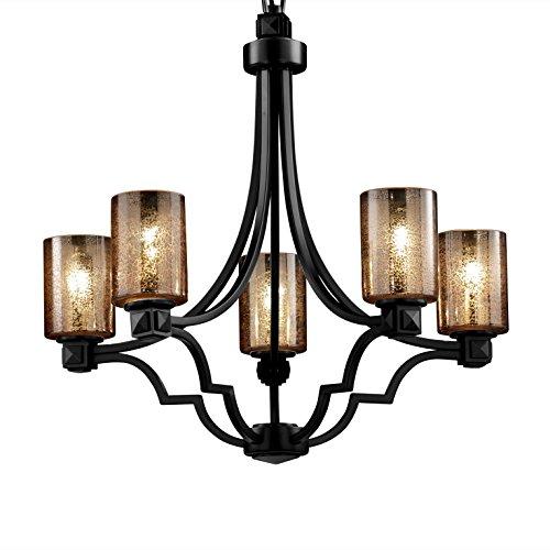 Justice Design Group Lighting FSN-8500-10-MROR-MBLK Argyle Five Light Chandelier, 34