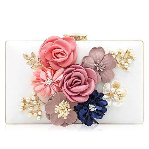 Women Casual Multicolored Floral Clutch Bag Cocktail Evening Purse Wallet With Gold Tone Strap