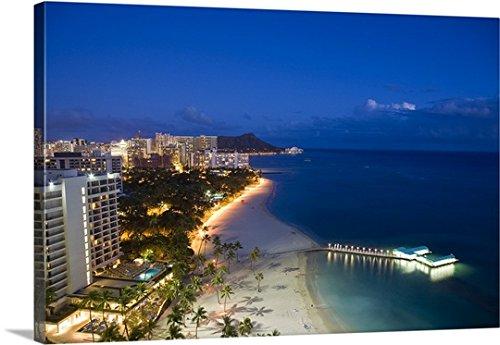 Douglas Peebles Premium Thick-Wrap Canvas Wall Art Print entitled Waikiki Beach, Honolulu, Oahu, Hawaii 48''x32'' by Canvas on Demand