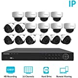 LaView 1080P IP 16 Camera Security System, 16 Channel IP PoE HDMI NVR (Resolution 1080p 4K Output) w/3TB HDD and 8 Dome & 8 Bullet High Resolution 2MP White Surveillance Camera Kit