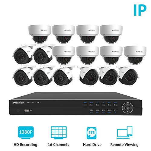 LaView 1080P IP 16 Camera Security System, 16 Channel IP PoE HDMI NVR  w/3TB HDD and 8 Dome & 8 Bullet High Resolution 2MP White Surveillance Camera