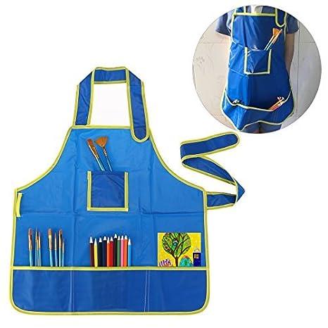 Los niños a prueba de mano TinkSky grembiule blusón para bricolaje pintura dibujo (colour azul