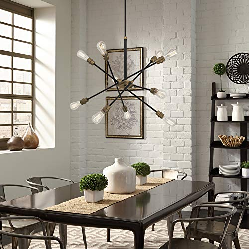 Mega lighting 10 Light Chandelier Matte Black with Antique Brass Accents(10) 60W A19 max. / Medium ()