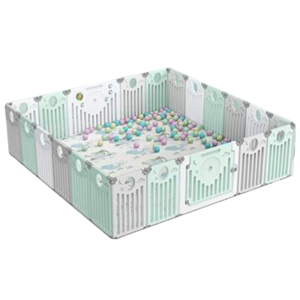 ベビーベビーサークル 幼児の安全防護柵 フロアマット 遊び場屋内世帯 洗えるポータブル 組み立て済み (カラー:グリーン+ホワイト、サイズ:230X130X64CM)   B07T9WSW1L