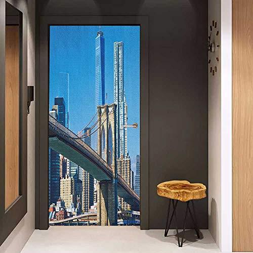 Door Sticker United States Lower Manhattan Skyline Brooklyn Bridge in New York City Famous Landmark Glass Film for Home Office W30 x H80 Pale Blue Tan (Bridge Manhattan Silhouette)