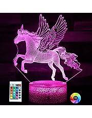 Eenhoorn Geschenken Eenhoorn Nachtlampje voor Kinderen, 3D Illusie Lamp 16 Kleuren Dimbare Eenhoorn Lamp voor Meisjes Slaapkamer Decor, Eenhoorn Speelgoed Vakantie Verjaardag Kerstcadeaus voor Meisjes 3 4 5 6 7 8 9 Jaar