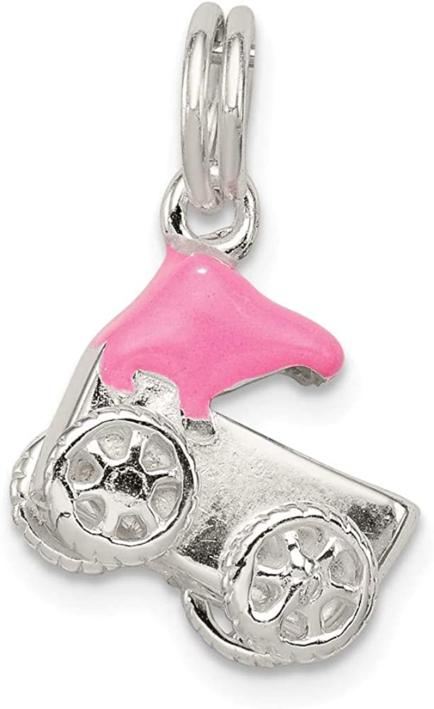 Solid 925 Sterling Silver Pink Baby Carriage Charm Pendant 17mm x 12mm