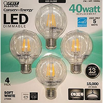 FEIT Electric G25 LED 40 Watt Replacement 4-pack Soft White