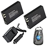 ValuePack (2 Count): Digital Replacement Digital Camera and Camcorder Battery PLUS Mini Battery Travel Charger for Samsung IA-BP80W, IABP80W, BP80W, BP-80W - Includes Lens Accessories Pouch