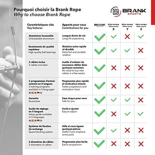 BRANK SPORTS® Comba Crossfit con 3 Cables | Cuerda Saltar Profesional Ajustable | Combas Crossfit Hombre y Mujer | Comba de Boxeo Speed Rope para Entrenamiento Funcional | Garantía 365 días | Revista 21-15-9