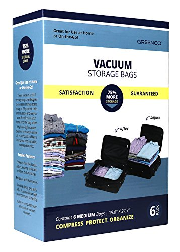 Greenco Vacuum seal, Space Saver Storage Bags - Medium-6 pack
