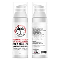Neck & Décolleté Tightening Serum | Best Anti-Aging Firming Neck Cream Made With Maximum Strength 2.5% Retinol Complex | Concentrated With Argireline and Hyaluronic Acid