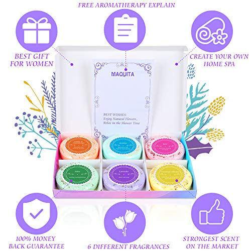 MAQUITA Shower Steamers and Shower Bath Bombs Tables with SPA Aromatherapy Stress Relif Relaxing Gift for Women Girls Great Mothers Day Birthday Christmas Gifts(6 Different fragrances)