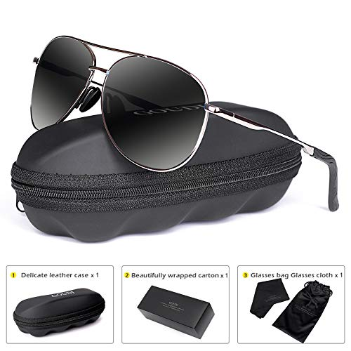 cd47088987a Polarized Aviator Sunglasses for Men - goudi Metal Frame driving UV 400  Protection Mens Women Mirror