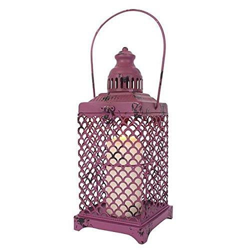 Viola metallo lanterna/portacandela –  shabby chic Style –  anticata/h: 42.00 cm x W: 12.50 cm x d: 12.50 cm –  Spedizione gratuita SD