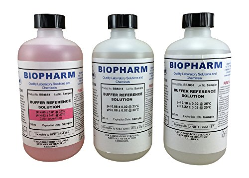 - Biopharm Buffer Calibration Kit (3) 250 ml (8oz) Bottles pH 4.00, pH 6.86 and pH 9.18 NIST Traceable Reference Standards for All pH Meters