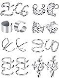 Blulu 8 Pairs Stainless Steel Ear Cuff Non Piercing Clip on Cartilage Earrings for Men Women, 8 Various Styles (Steel)