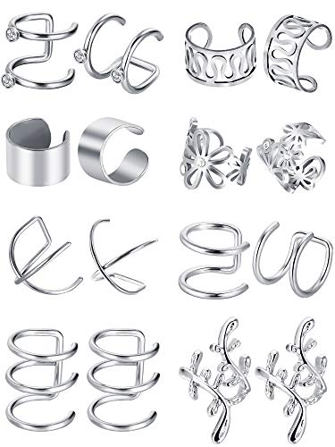 - Blulu 8 Pairs Stainless Steel Ear Cuff Non Piercing Clip on Cartilage Earrings for Men Women, 8 Various Styles (Steel)