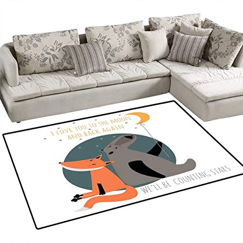 Mahal Slate - I Love You Area Rugs for Bedroom Bear and Fox in Love Valentines Counting Night Stars Animal Print Door Mats for Inside Non Slip Backing 48