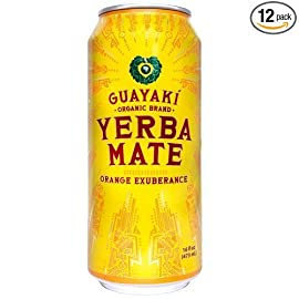 Guayaki Yerba Mate, Orange Exuberance, 16 Oz (Pack of 12) 17 The first sip has a tangerine taste, then fades to an orange and lime mellow flavor 75mg naturally occuring caffeine per serving Certified organic, certified Kosher