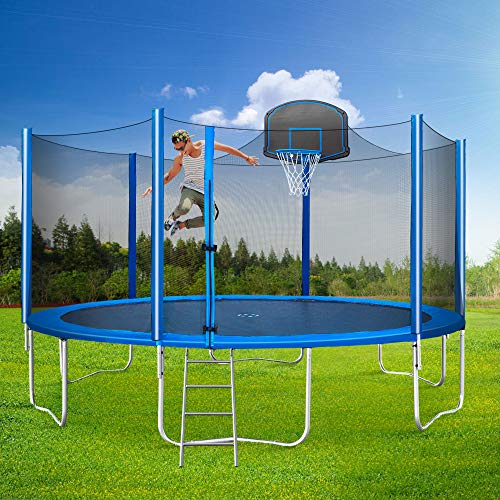 15FT Trampoline with Safety Enclosure, Basketball Hoop, Ladder for Kids Adults, Round Trampoline/Basketball Trampoline for Outdoor, Backyard (Blue)
