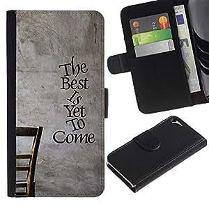 A-type (Lo mejor esta por venir) Colorida Impresión Funda Cuero Monedero Caja Bolsa Cubierta Caja Piel Card Slots Para Apple iPhone 5 / iPhone 5S