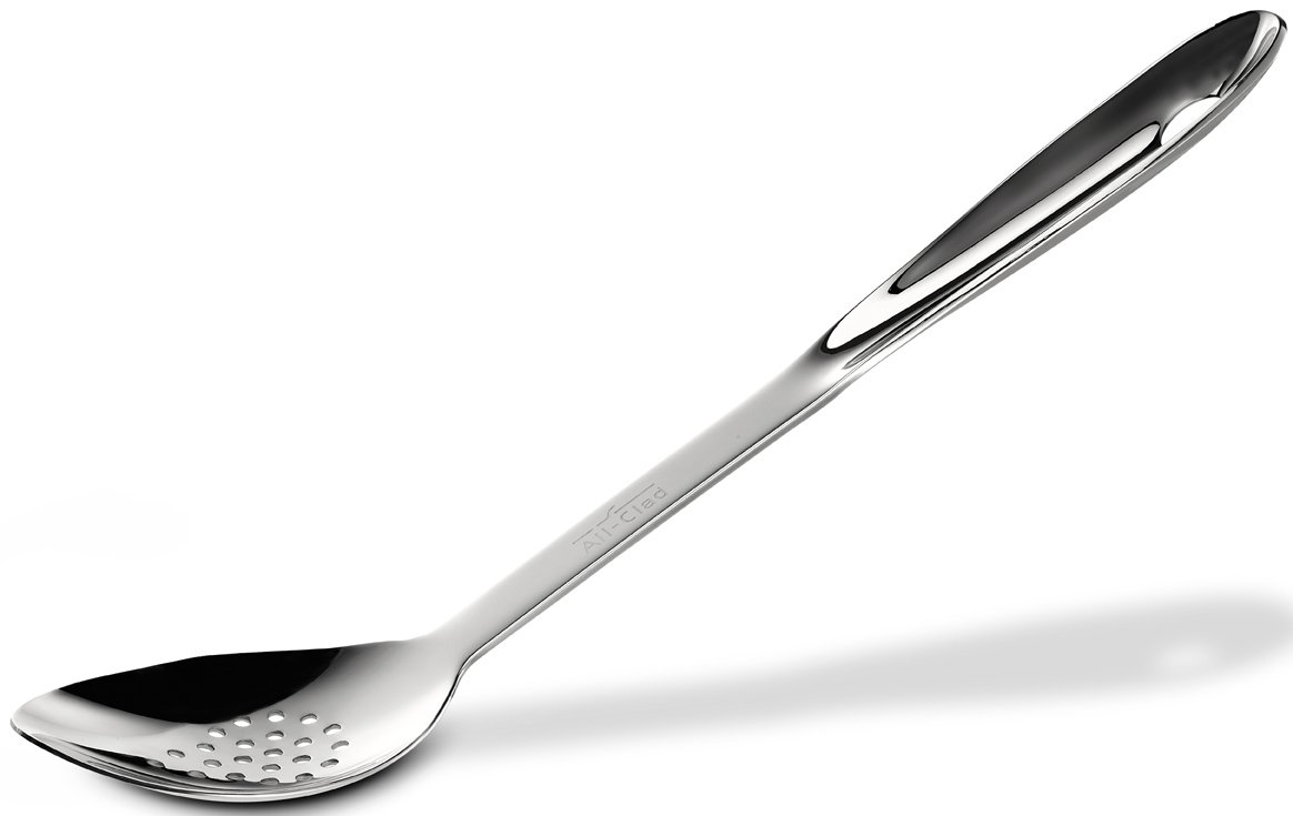 All-Clad T101 Stainless Steel Slotted Spoon Kitchen Tool, 13-Inch, Silver