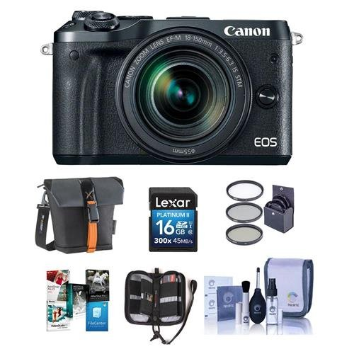 Canon-EOS-M6-Mirrorless-Digital-Camera-Black-Kit-with-EF-M-18-150mm-f35-63-IS-STM-Lens-Bundle-With-Holster-Case-16GB-SDHC-Card-Memory-Wallet-Cleaning-Kit-55mm-Filter-Kit-Software-Package