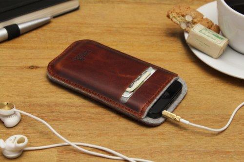 Pack & Smooch - iPhone 5s / 5 Pochette, Case, Cover LEICESTER En Feutre De Laine 100 % Mérinos Et Cuir Naturel à Tannage Végétal