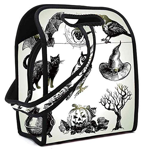 Vintage Halloween Lightweight Neoprene Lunch Bag,Halloween Related Pictures Drawn by Hand Raven Owl Spider Black Cat Decorative for Kids Nurse Teacher Outdoor,Square(8.5''L x 5.5''W x 11''H)