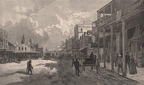 - High Street, WEST MAITLAND. New South Wales. Australia - 1888 - old print - antique print - vintage print - New South Wales art prints