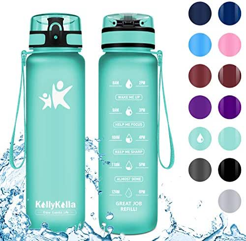 KollyKolla Sports Water Bottles 32oz,27oz,17oz,12oz,Reusable Plastic Water Bottle with Time Marker and Filter, BPA Free Tritan Kids Flip Top Water Bottle for Gym, Bike, Yoga, Running