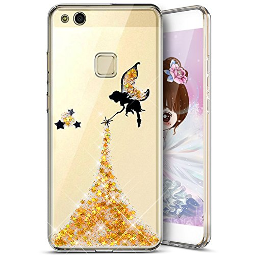 tui Paillette P10 Silicone Huawei toiles Lite pour Mince Paillette Housse Huawei Lite TPU Coque Coque Glitter Coque Crystal Lit en Huawei Fine Motif Liquid P10 Ultra P10 Ultra pour Jaune Ukayfe Silicone Ange qxvvgPt