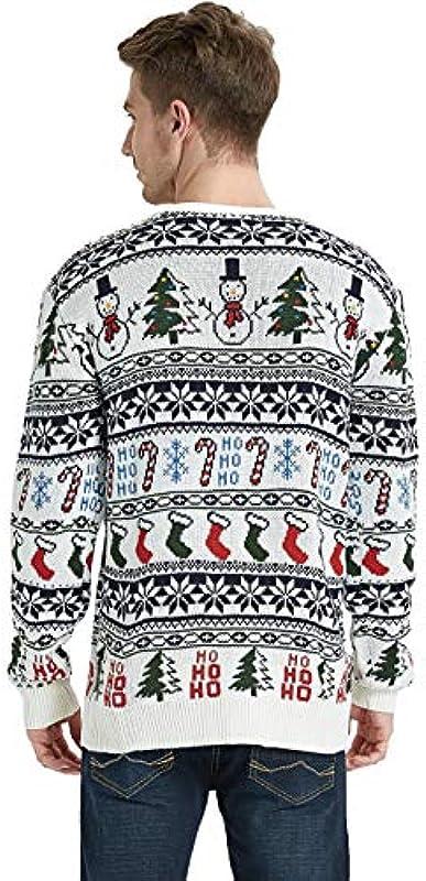 Daisyboutique Męskie Weihnachtspullover Rudolph Rentier Holiday Sweater Cardigan Cute Ugly Pullover - Weiß - Mittel: Odzież