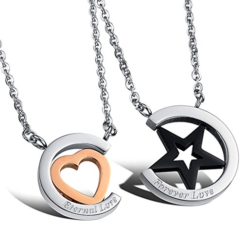 Titanium Heart Pendant - Kinteshun Couples Necklace with Titanium Stainless Steel Star&Heart Shape Pendant,His-and-Hers Matching Set Lovers Necklace(Eternal&Forever Love)