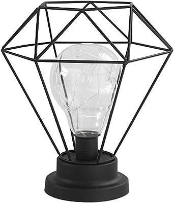 Luz de Noche de Hierro Bombilla de Diamante, Lámpara de Mesa Diamond Iron Bombilla Lámpara de Mesa con Pilas Funciona con Pilas para el Dormitorio, la Sala de Estar EONHUAYU (Black): Amazon.es: