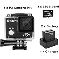 Dazzne DZ-P3 1080P LCD Screen Waterproof HD Sports Camera Video DV Camcorder with 16 Million Pixels Support WIFI Mobile APP Control Replacement As Sj5000+ Comes With 2 Batteries + Charger + EACHSHOT® 32GB Memory Card
