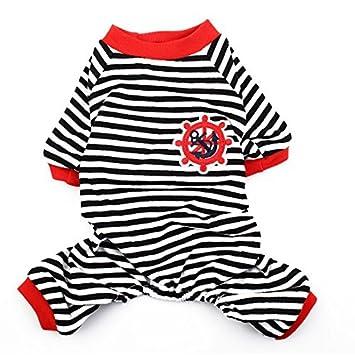Padrão DealMux Anchor leme Bordado Pet Dog Doggie Stripe Sleepwear Camisa Roupa Pijamas Vestuário Tamanho M