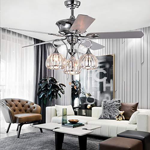 RainierLight 5-Blade 52-Inch Chrome Ceiling Fan with 3-Light Crystal Chandelier Remote ()