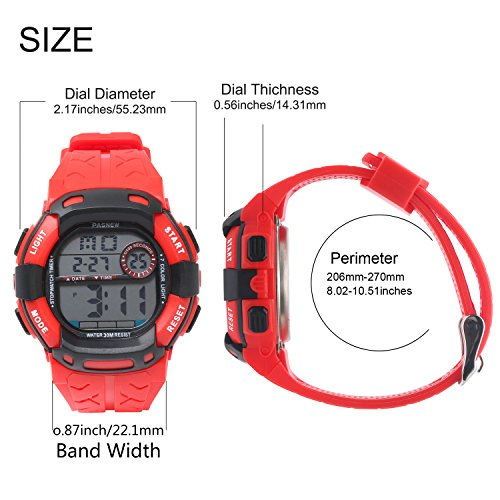 Kids Boys Girls Digital Multi Function Sports Water Resistant 7-Colors Backlight Wrist Watches (RED) by HOWOD (Image #2)