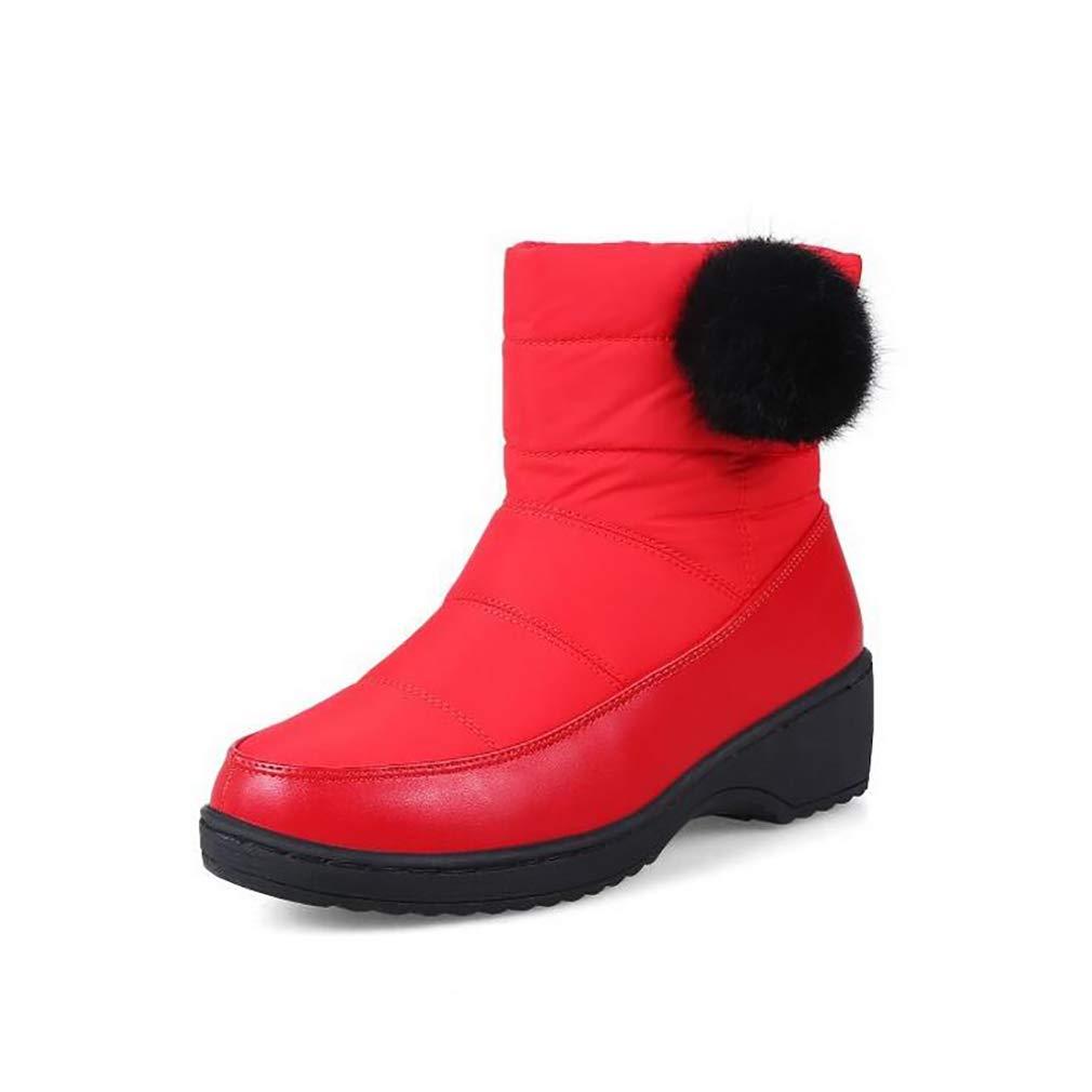 Hy Frauen Stiefelies Winter Student Casual Schnee Stiefel/Damen Künstliche PU Große Größe Outdoor Stiefel Flache Stiefel Snowboard Stiefel Winter Rutschfeste Stiefel (Farbe : Rot, Größe : 42)