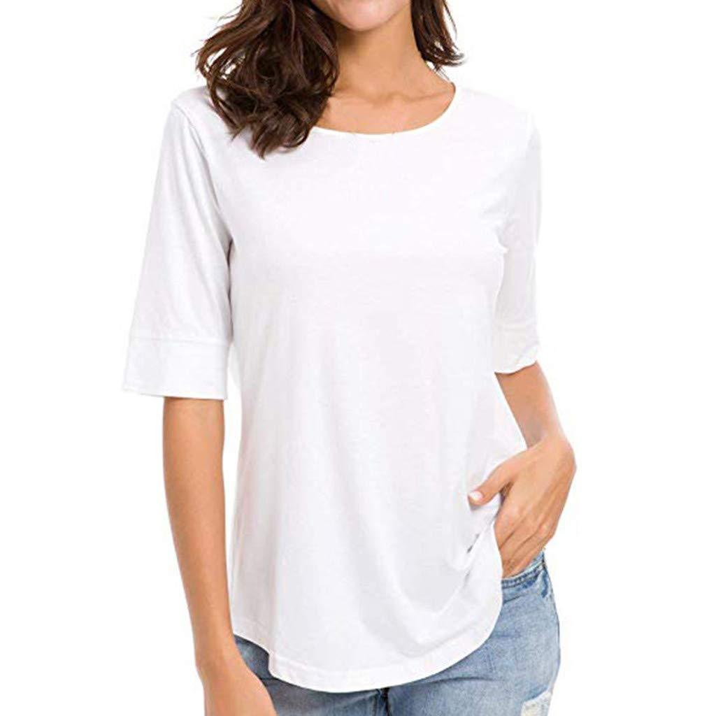 Camisetas básicas para Mujer, Casual, de Media Manga, Color Liso ...