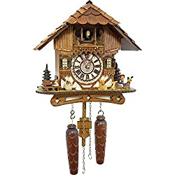 German Cuckoo Clock - Blackforest Hillside Chalet with wonderful animals - BY CUCKOO-PALACE with quartz movement - 10 1/4 inches height