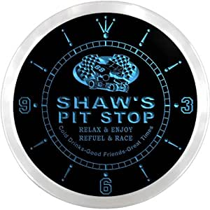 ncpu1144-b SHAW'S Pit Stop Car Race Room Pub LED Neon Sign Wall Clock