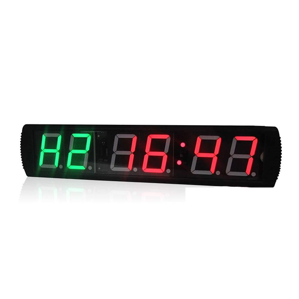 スポーツタイマー LED桁内部トレーニングタイマージムボクシングストップウォッチLed壁時計リモコン付きフィットネス用 デジタルスポーツタイマー (色 : ブラック, サイズ : 65X16X4.5CM) ブラック 65X16X4.5CM