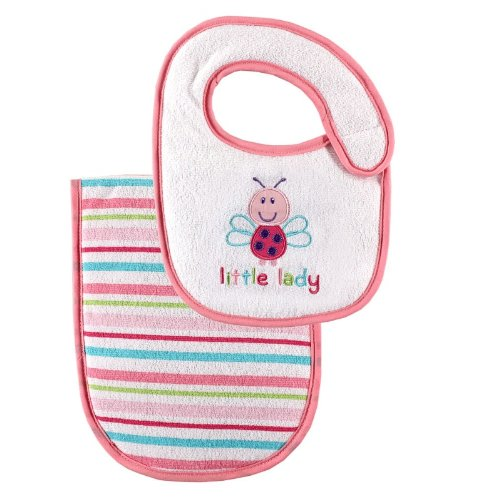 - Luvable Friends Baby Bib and Burp Cloth Set, Pink