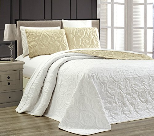 3-Piece Tropical Coast Seashell Beach (California) Cal King Oversize OVERSIZE Bedspread WHITE / IVORY Reversible Coverlet Embossed Bed Cover set. Sea Shells, Sea Horse, Starfish etc.