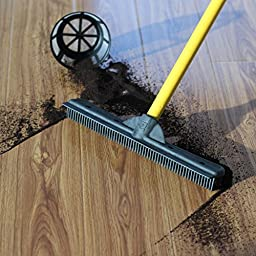 Furemover Broom with Squeegee made from 100% Rubber, Multi-Surface and Pet Hair Removal,  Extends from 3 ft. to 6 ft.