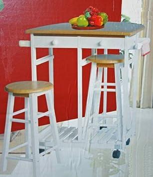 Küchentisch Küchenbar auf Rädern + 2 Hocker/Regal: Amazon.de: Küche ...