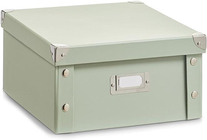Zeller 17591 Caja de almacenaje de cartón Verde (Mint) 31 x 26 x 14 cm: Amazon.es: Hogar